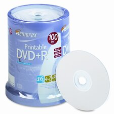 Inkjet Printable Dvd + R Discs, 100/Pack