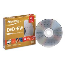 DVD+RW Discs, 4.7GB, Five/Pack