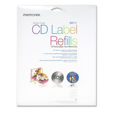 <strong>Memorex</strong> CD Label Refills for  Inkjet/Laser, 50 per Pack, White Matte
