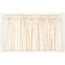 Madison Dot Embroidery Rod Pocket Ruffled Curtain Valance