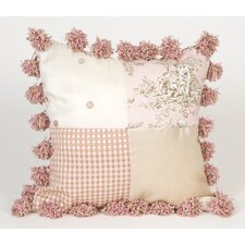 Madison Patch Pillow with Pom Poms