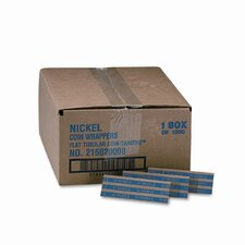 Pop-Open Flat Paper Coin Wrappers, Nickels, 1000 Wrappers/Box