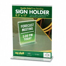 T-Frame Base Desktop Sign Holder, Acrylic, 8-1/2 x 11