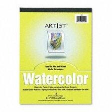 Artist Watercolor Paper Pad, 9 x 12, White, 12 Sheets per Pad