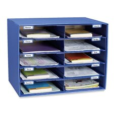"Mail Box, 10 Slots, 12-1/2""x10""x3"", Blue"