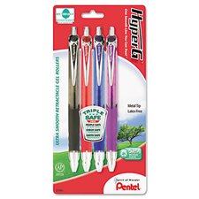 Hyper-G Roller Ball Retractable Gel Pen, 4/Pack