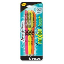 Erasable Highlighter, Chisel Point, 3/PK, Assorted