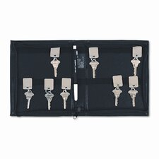 <strong>PM Company</strong> Locking Full-Length Zipper 144-Key Leather-Look Vinyl Case, 7w x 8-3/8h, Black