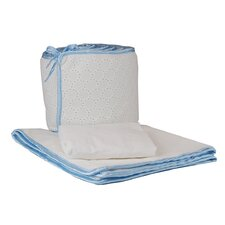 Tadpoles White Eyelet Cradle Set in Blue Trim