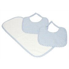 Tadpoles Classics Three Piece Bib & Burp Cloth Gift Set in Blue