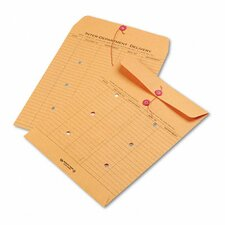Recycled Kraft String and Button Interoffice Envelope, 100/Carton