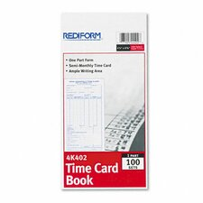 Employee Time Card, Semi-Monthly, 100/Pad
