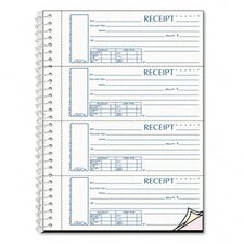 Spiralbound Unnumbered Money Receipt Book, 120 Sets/Book