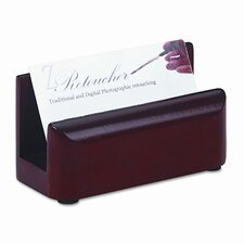 Wood Tones Business Card Holder, Capacity 50 2-1/4 x 4 Cards, Mahogany