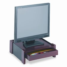 <strong>Rolodex Corporation</strong> Monitor Stand, Drawer/Cord Organizer, 14 1/2w x 13 1/2d x 5 1/8h, Black/Mahogany