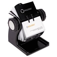 <strong>Rolodex Corporation</strong> Wood Tones Open Rotary Business Card File Holds 400 2-5/8 x 4 Cards, Black