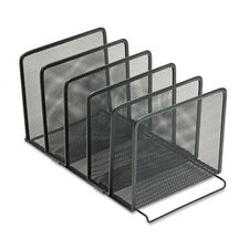 <strong>Rolodex Corporation</strong> Mesh Stacking Sorter, Five Sections, Metal, 8 1/2w x 14 1/4d x 7 1/2h, Black