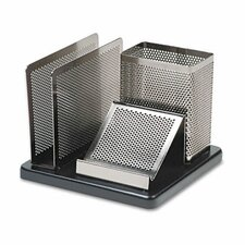 Distinctions Desk Organizer, Metal/Wood, 5 7/8 x 5 7/8 x 4 1/2, Black/Silver