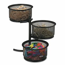 3-Tier Wire Mesh Swivel Tower Paper Clip Holder, 3 3/4 x 6 1/2 x 6, Black