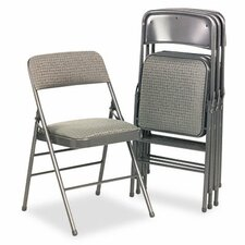 Bridgeport Deluxe Fabric Padded Seat & Back Folding Chairs, 4/Carton