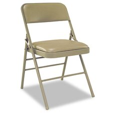 Deluxe Vinyl Padded Seat and Back Folding Chairs, Taupe, Four/Carton