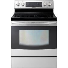<strong>Samsung</strong> 5.9 Cu. Ft. 30 In. Freestanding Electric Flex Duo Oven with Induction/Radiant Ceramic Cooktop