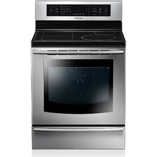 <strong>Samsung</strong> 5.9 Cu. Ft. 30 In. Freestanding Electric True Convection Oven with Full Induction Cooktop and Flex CookZone