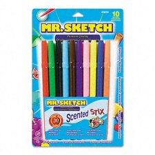 Scented Stix Watercolor Markers, Fine Point, 10/Set