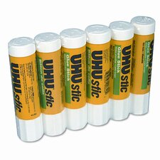 UHU Stic Permanent Clear Application Glue Stick, .74 oz, 6/pack