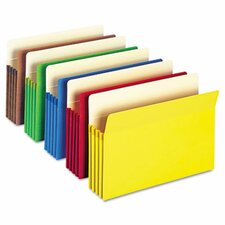 """3 1/2"""" Expansion Colored File Pocket, Straight Tab, Legal, Assorted, 5/Box"""