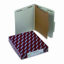 Pressboard Classification Folders w/Tab, Ltr, 4-Section, GY-Green, 10/box
