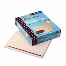Interior Front Pocket Folders, Straight Cut, End Tab, Letter, Manila, 50/Box
