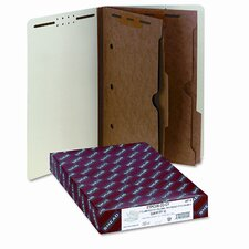 Six-Section Pressboard Classification End Tab Folders, Pockets, 10/Box