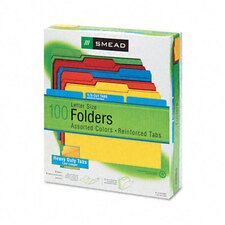 <strong>Smead Manufacturing Company</strong> 1/3 Cut Reinforced Top Tab File Folders, Letter, 100/Box