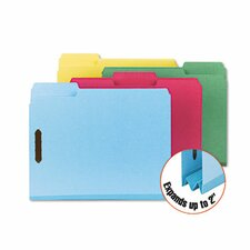 Colored Pressboard Fastener Folders, Letter, 1/3 Cut, 25/Box