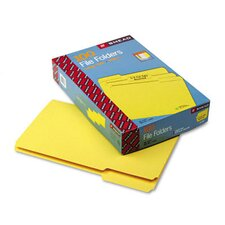 File Folders, 1/3 Cut, Top Tab, Legal, Yellow, 100/Box
