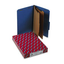 Pressboard Classification Folders, Legal, 6-Section, Dark Blue, 10/box