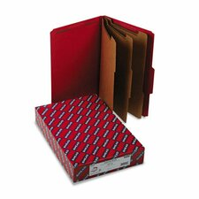 "3"" Expansion Folders with 2/5 Cut Tab, Lgl, 8-Section, Bright Red, 10/box"