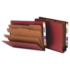 Pressboard End Tab Classification Folders, Letter, 8-Section, Red, 10/box