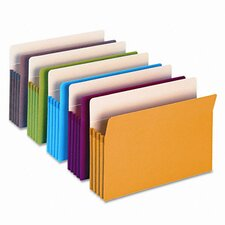 "3 1/2"" Expansion Colored File Pocket, Straight Tab, Legal, Assorted, 5/Box"