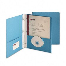 "Paper Two-Pocket Portfolio, Tang Clip, Letter, 1/2"" Capacity, Blue, 25 per Box"
