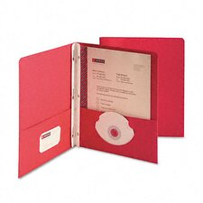 "Paper Two-Pocket Portfolio, Tang Clip, Letter, 1/2"" Capacity, Red, 25 per Box"