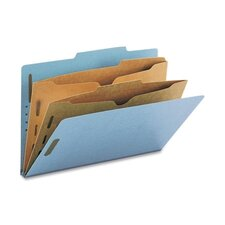 Six-Section Pressboard Classification Folders with Two Pocket Dividers, Legal, 10/Box