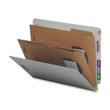 Six-Section Pressboard Classification End Tab Folder, Pockets, 10/Box