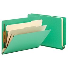 Six-Section Colored End Tab Classification Folders, 10/Box