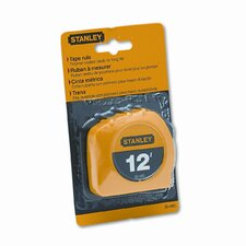 "Power Return Tape Measure w/Belt Clip, 1/2""w x12 ft., Yellow"