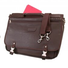 Leather Look Expandable Briefcase Messenger Bag in Mahogany