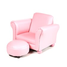 Upholstered Children's Chair and Ottoman Set