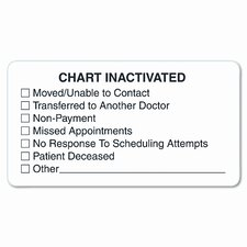 """Chart Inactivated"" Medical Labels, 3-1/4 x 1-3/4, White, 250 per Roll"