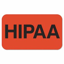 Medical Labels for HIPPA, 1-1/2 x 7/8, Fluorescent Red, 250/Roll